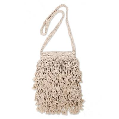Hand-Knotted Cotton Sling with Fringes from Bali