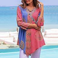 Rayon tunic, 'Color Symphony in Rose' - Pink and Blue Hand Batik Textured Rayon Flowing V-Neck Tunic