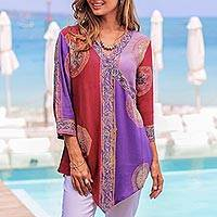 Rayon tunic, 'Color Symphony in Purple' - Red and Purple Hand Batik Textured Rayon Flowing Tunic