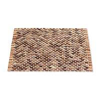Teakwood mat, 'Surabya Sidewalk' (33 inch) - Handcrafted Teakwood Mat from Bali (33 in.)