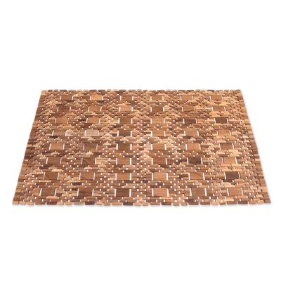 Teakwood mat, 'Cobbled Path' - Artisan Crafted Teakwood Mat from Bali