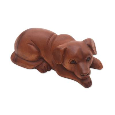 Wood sculpture, 'Good Boy' - Hand-Carved Suar Wood Dog Sculpture from Bali