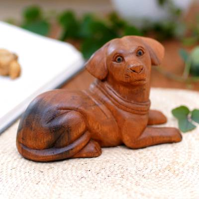 Wood sculpture, 'Best Boy' - Hand-Carved Wood Dog Sculpture from Bali