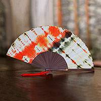 Tie-dyed cotton fan,