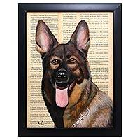'German Shepherd' - Signed Painting of a German Shepherd from Bali