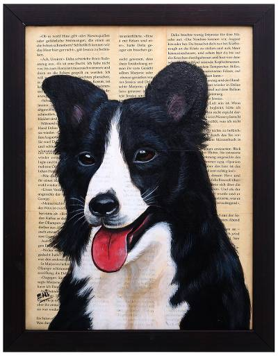 Signed Painting of a Shetland Sheepdog from Bali