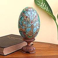 Wood sculpture, 'Ganesha's Majesty' - Hand-Painted Wood Egg Ganesha Sculpture from Bali