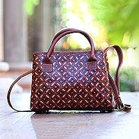 Batik leather handbag, 'Kawung Delight' - Kawung Motif Batik Leather Handbag from Java