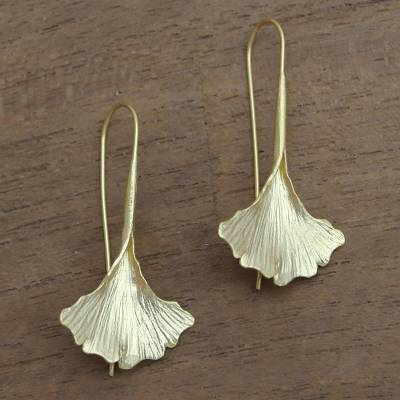Gold plated sterling silver drop earrings, 'Golden Ginko Leaf' - Gold Plated Sterling Silver Ginko Leaf Drop Earrings