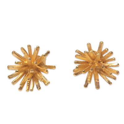 Modern 18k Gold Plated Sterling Silver Stud Earrings