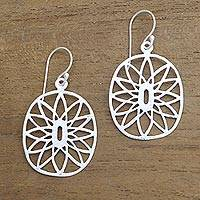 Sterling silver dangle earrings, 'Bright Future' - Brushed-Satin Sterling Silver Dangle Earrings from Bali