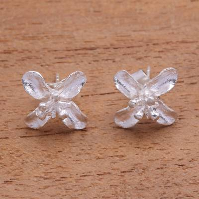 Sterling silver stud earrings, 'Glorious Simplicity' - Floral Sterling Silver Stud Earrings from Bali