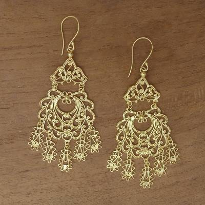 Gold plated sterling silver chandelier earrings, Real Beauty
