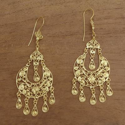 Gold plated sterling silver chandelier earrings, 'Simply Glamorous' - Handmade Gold Plated Sterling Silver Chandelier Earrings