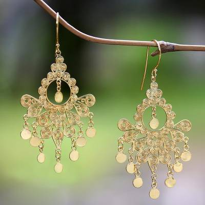 Gold plated sterling silver chandelier earrings, Gold Peacock Feather
