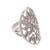 Sterling silver cocktail ring, 'Many Leaves' - Leaf Motif Sterling Silver Cocktail Ring from Bali (image 2e) thumbail