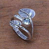 Blue topaz cocktail ring, 'Gemstone Leaves' - Leaf-Themed Blue Topaz Cocktail Ring from Bali