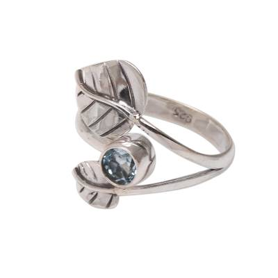 Leaf-Themed Blue Topaz Cocktail Ring from Bali