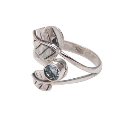 Blue topaz cocktail ring, 'Gemstone Leaves' - Leaf-Themed Blue Topaz Cocktail Ring from Bali