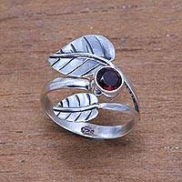 Garnet cocktail ring, 'Gemstone Leaves' - Leaf-Themed Garnet Cocktail Ring from Bali