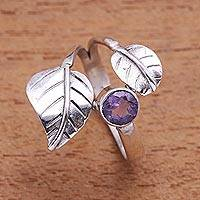Amethyst cocktail ring, 'Gemstone Leaves' - Leaf-Themed Amethyst Cocktail Ring from Bali