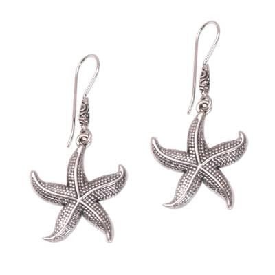Sterling silver dangle earrings, 'Sanur Starfish' - Sterling Silver Starfish Dangle Earrings from Bali
