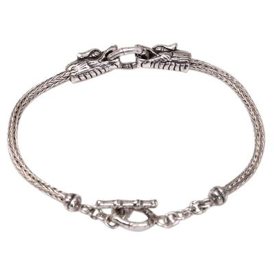 Men's sterling silver pendant bracelet, 'Spiritual Dragon' - Men's Sterling Silver Dragon Pendant Bracelet from Bali