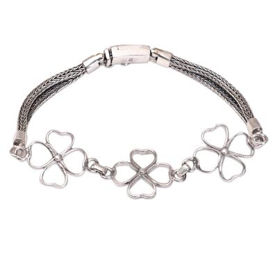 Sterling silver link bracelet, 'Clover Trio' - Four-Leaf Clover Sterling Silver Link Bracelet from Bali