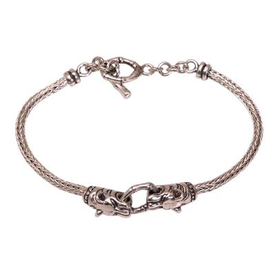Men's sterling silver pendant bracelet, 'Spiritual Tiger' - Tiger-Themed Sterling Silver Pendant Bracelet from Bali
