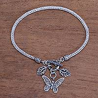 Sterling silver chain bracelet, 'Butterfly Liberty' - Butterfly-Themed Sterling Silver Chain Bracelet from Bali