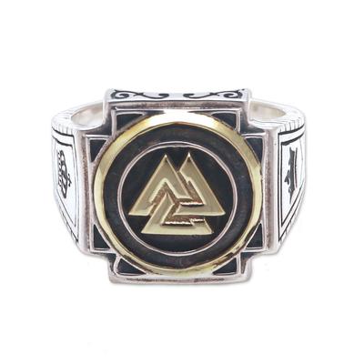 Men's sterling silver signet ring, 'Bold Valknut in Brass' - Men's Brass Accented Sterling Silver Odin's Knot Ring