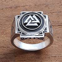Men's sterling silver signet ring, 'Bold Valknut' - Men's Sterling Silver Odin's Knot Signet Ring from Bali