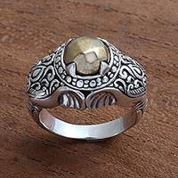 Men's sterling silver ring, 'Elephant Temple in Brass'