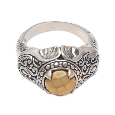 Men's sterling silver ring, 'Elephant Temple in Brass' - Men's Brass Accented Sterling Silver Elephant Ring from Bali