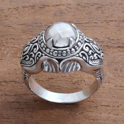 Mens sterling silver ring, Elephant Temple