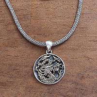 Men's sterling silver pendant necklace, 'Glorious Dragon in Brass' - Men's Brass Accented Sterling Silver Dragon Pendant Necklace