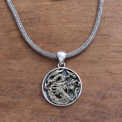 Sterling silver pendant necklace, 'Glorious Dragon in Brass' - Brass Accented Sterling Silver Dragon Pendant Necklace