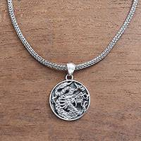 Men's sterling silver pendant necklace, 'Glorious Dragon'