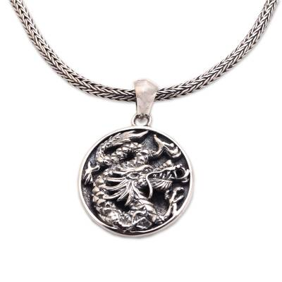 Men's sterling silver pendant necklace, 'Glorious Dragon' - Men's Sterling Silver Dragon Pendant Necklace from Bali