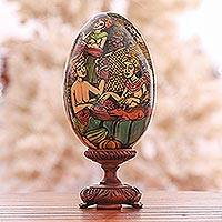Wood sculpture, 'Traditional Pasar' - Hand-Painted Market Scene Wood Egg Sculpture from Bali