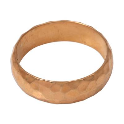 Gold plated sterling silver band ring, 'Golden Facets' - 18k Gold Plated Sterling Silver Band Ring from Bali