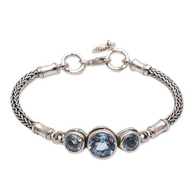 Blue topaz pendant bracelet, 'Mystic Bamboo' - Bamboo Motif Blue Topaz Pendant Bracelet from Bali