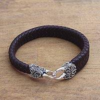 Men's leather and sterling silver braided wristband bracelet, 'Bun Claw in Brown'