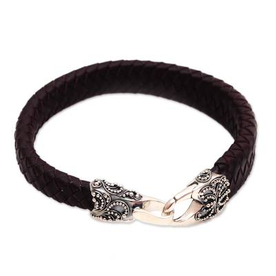 Men's leather and sterling silver braided wristband bracelet, 'Bun Claw in Brown' - Men's Leather and Sterling Silver Bracelet in Brown