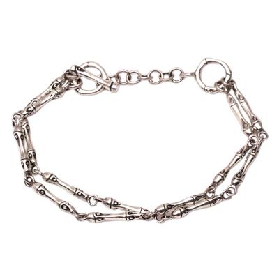 Sterling silver link bracelet, 'Bamboo Stalks' - Bamboo Motif Sterling Silver Link Bracelet from Bali