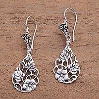 Sterling silver dangle earrings, 'Garden Teardrops'