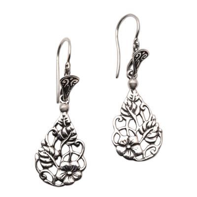 Sterling silver dangle earrings, 'Garden Teardrops' - Floral Teardrop Sterling Silver Dangle Earrings from Bali