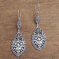 Sterling silver dangle earrings, 'Great Bhoma'