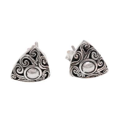 Spiral Pattern Triangular Sterling Silver Stud Earrings
