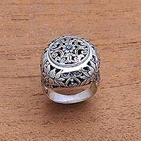 Sterling silver domed ring, 'Garden Dome' - Floral Sterling Silver Domed Ring from Bali